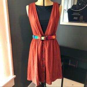 NOWT rust jumper dress button front